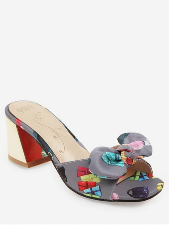 831b2c6355e4 25% OFF   NEW  2019 Sweet Bow Peep Toe Heeled Slides In GRAY
