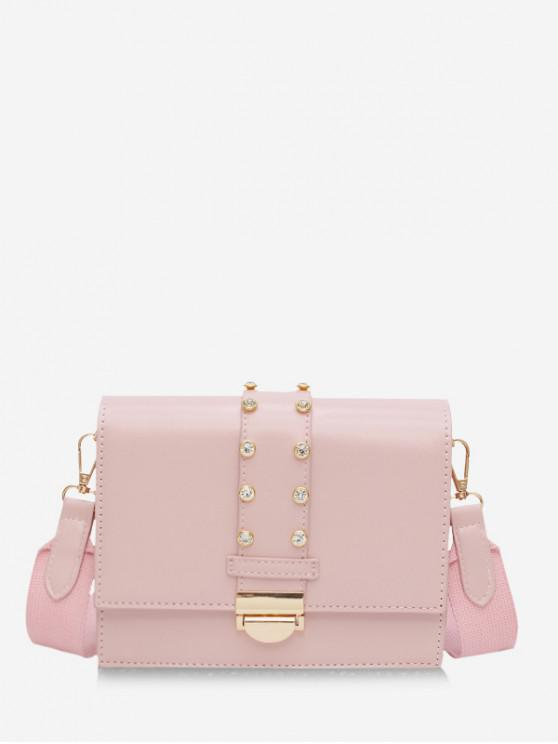 shops Rhinestone Design Crossbody Bag - PINK