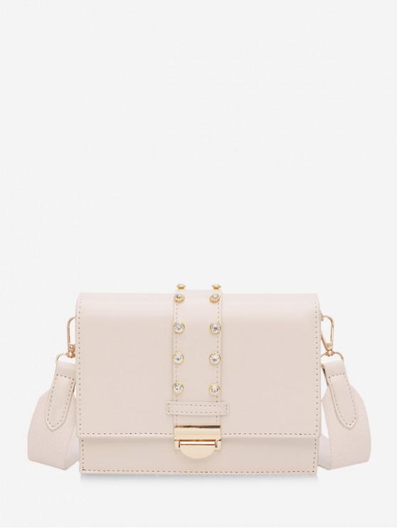 latest Rhinestone Design Crossbody Bag - WHITE
