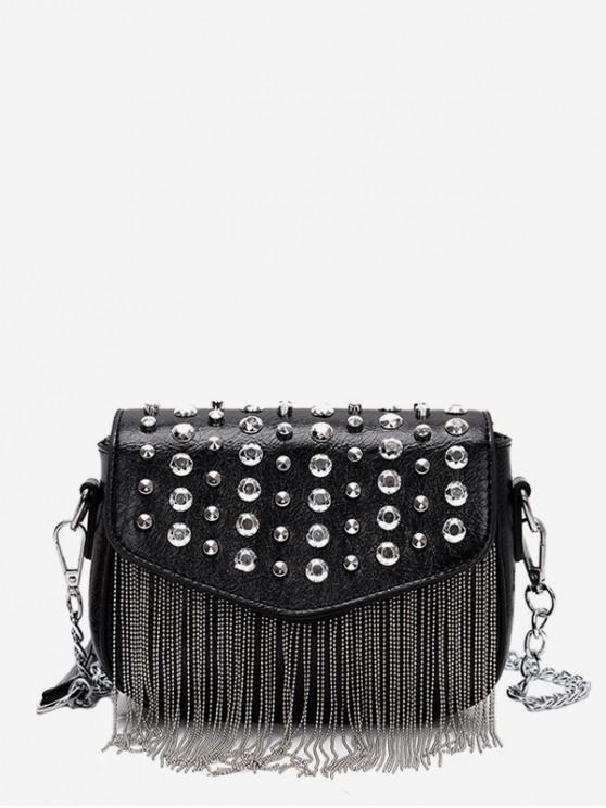 buy Rivet Design Tassel Crossbody Bag - BLACK