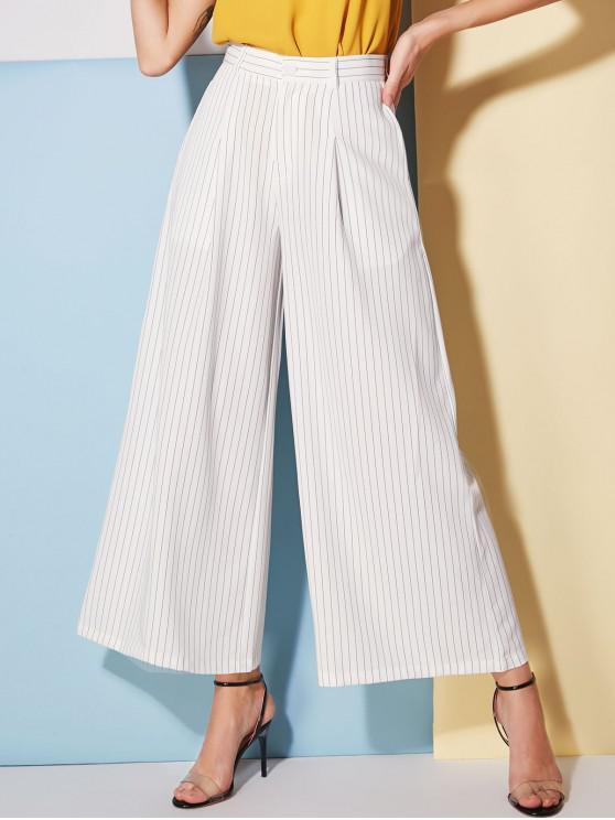 online Wide Leg Stripes Pants - WHITE M