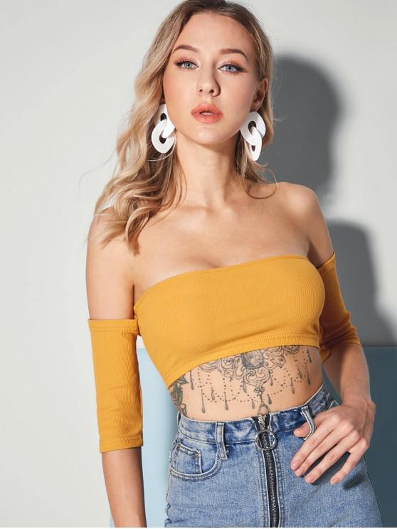 c59f61612654d 22% OFF  2019 ZAFUL Lace Up Off Shoulder Ribbed Crop Top In BEE ...