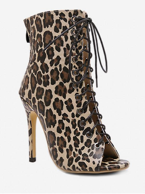 women's Sexy Leopard Print Lace Up High Heel Boots - LEOPARD EU 37