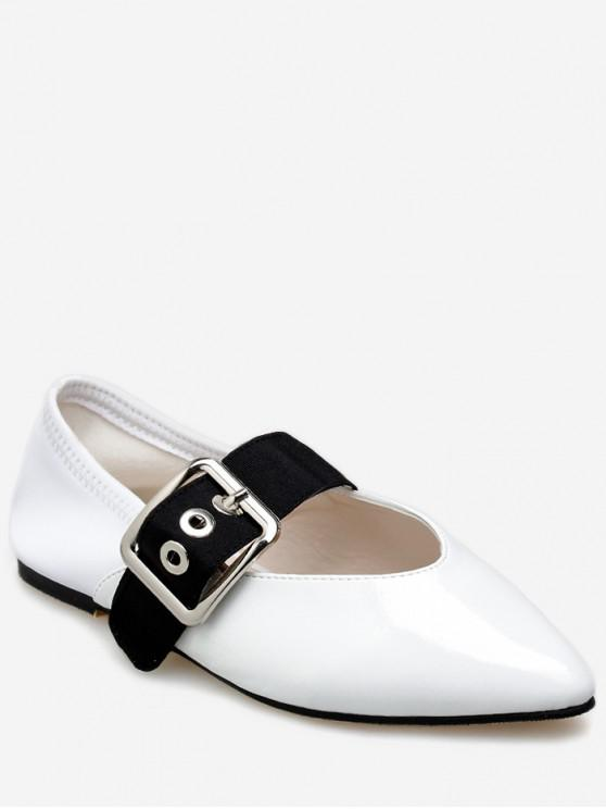 buy Pointed Toe Buckle Strap Flat Shoes - WHITE EU 37
