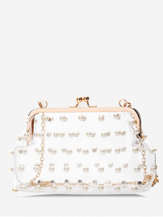 buy Hasp Faux Pearl Transparent Crossbody Bag - TRANSPARENT
