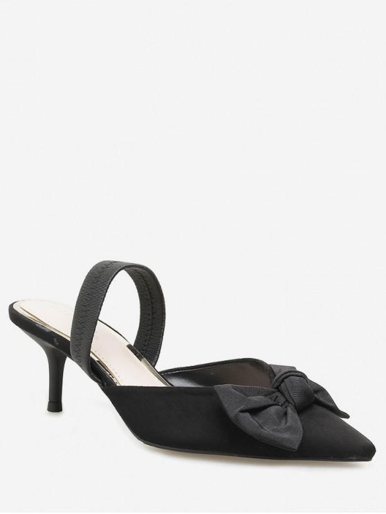 Dedo del pie puntiagudo arco tacón de aguja diapositivas - Negro EU 36