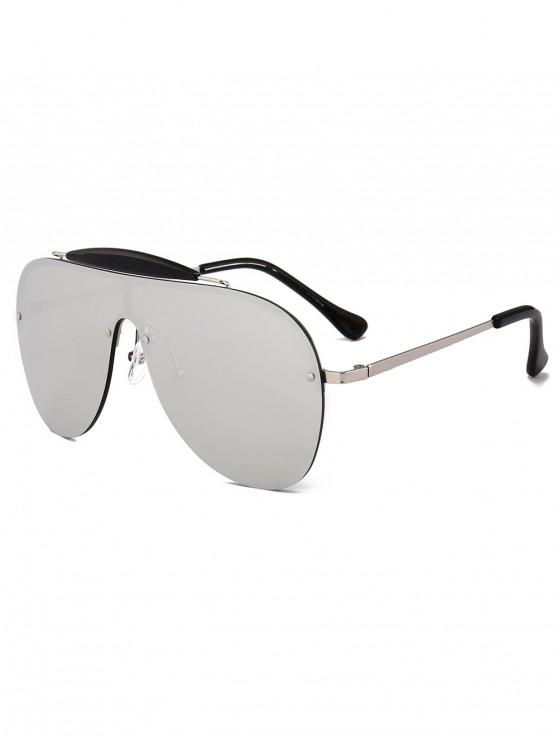 fashion Semi-rimless Pilot Sunglasses - SILVER