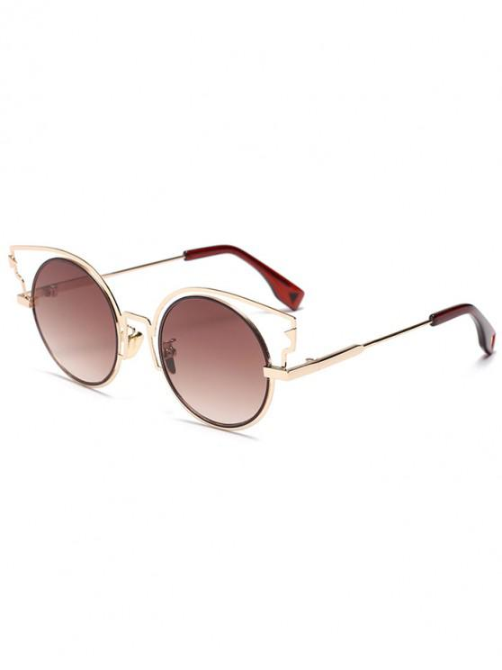 affordable Round Lens Catty Eye Sunglasses - BROWN