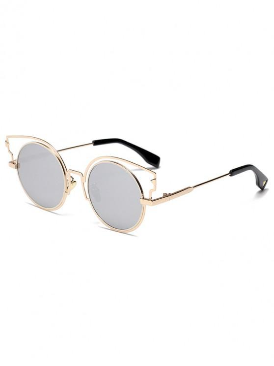 women Round Lens Catty Eye Sunglasses - SILVER