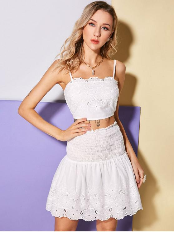 fancy ZAFUL Broderie Anglaise Cami Top and Mini Skirt Set - WHITE S