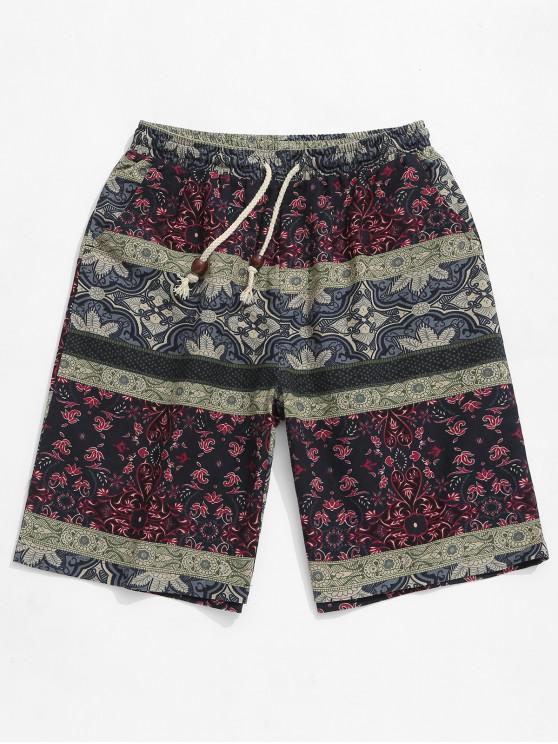 Tribal estampado de flores elástico pantalones cortos casuales - Multicolor XL