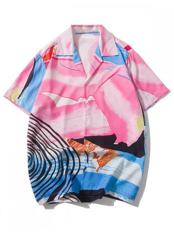 hot Colorful Painting Print Short Sleeves Shirt - MULTI L