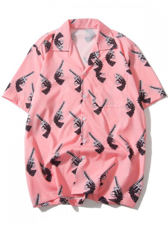 fashion Handgun Allover Print Casual Shirt - PINK 2XL