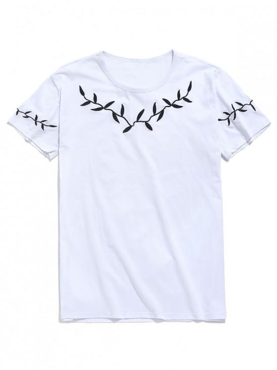 unique Leaf Embroidery Short Sleeves T-shirt - WHITE L