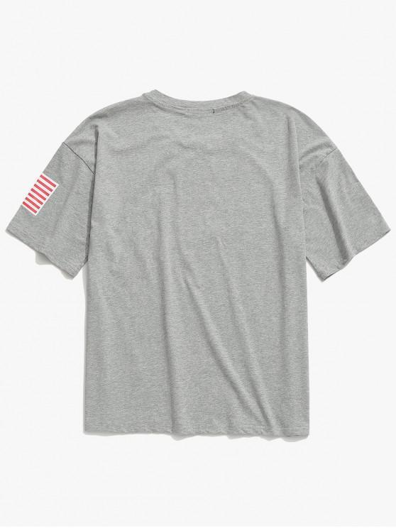 M shirt Lettre Américain Clair T ImprimésGris Drapeau Zaful Décontracté Et QredCBxoW