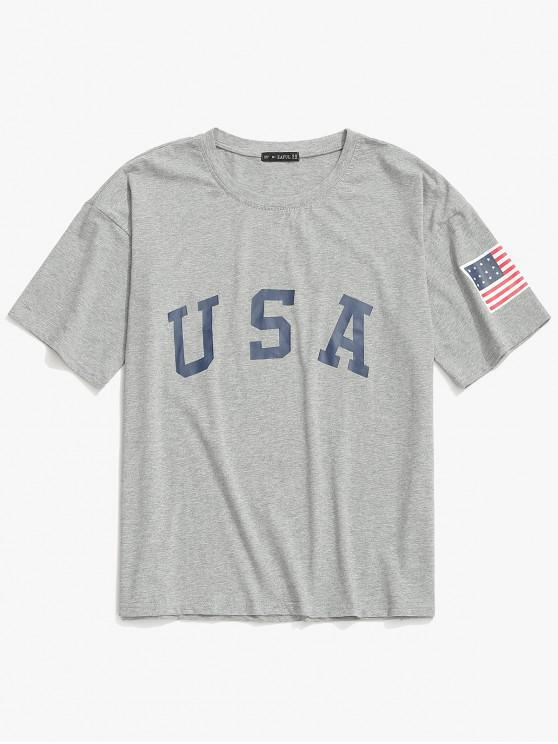 buy ZAFUL USA Letter American Flag Print Casual T-shirt - LIGHT GRAY L