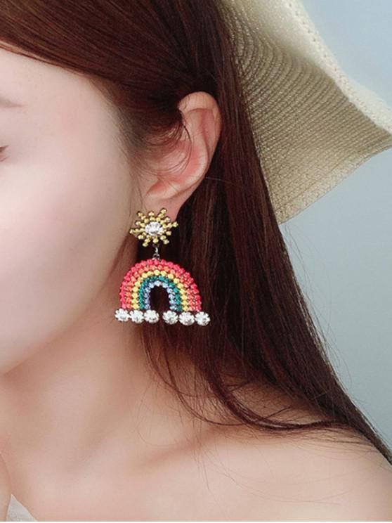 trendy Alloy Rhinestone Rainbow Earrings - MULTI