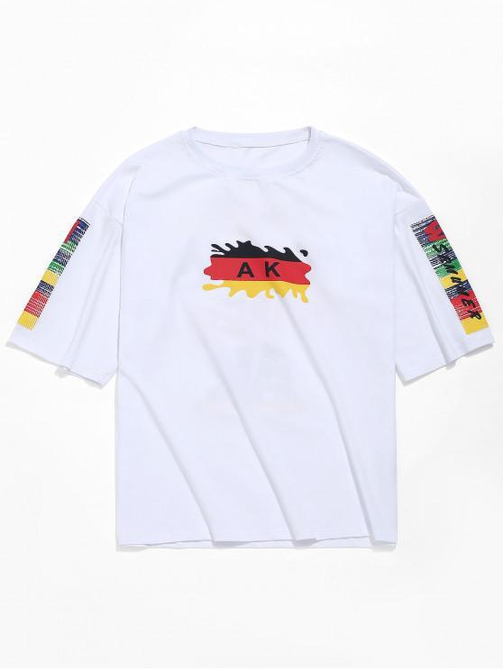 T-shirt Casual Imprimé Lettre avec Lettre Colorée - Blanc L
