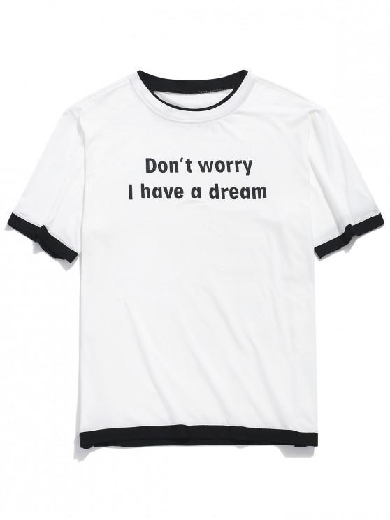 fancy Letter Print Color Block Hem Casual T-shirt - WHITE S