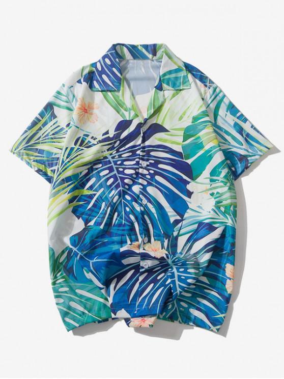 fashion Hawaiian Tropical Plant Floral Print Beach Shirt - MULTI L