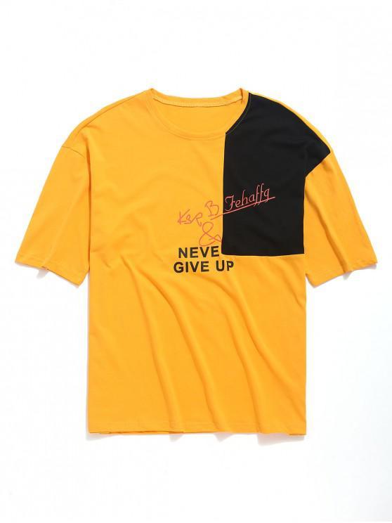 Camiseta con hombros descubiertos y letras en color block block - Amarilla de Abeja  XL