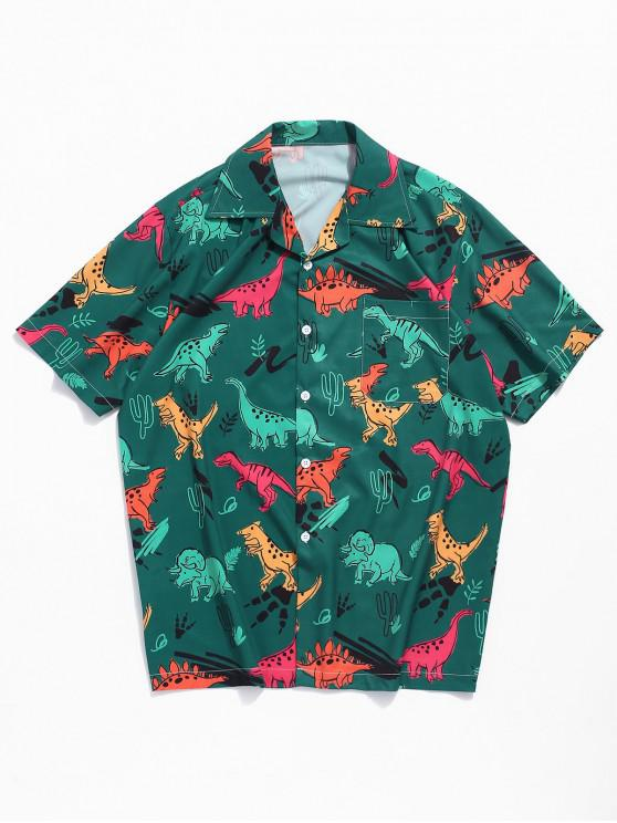 buy Dinosaur Plant Print Short Sleeves Shirt - MEDIUM SEA GREEN M