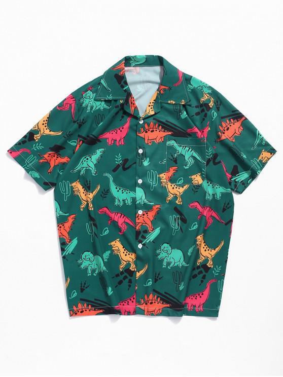 womens Dinosaur Plant Print Short Sleeves Shirt - MEDIUM SEA GREEN L