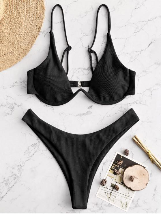chic ZAFUL Textured Underwire Bikini - BLACK S