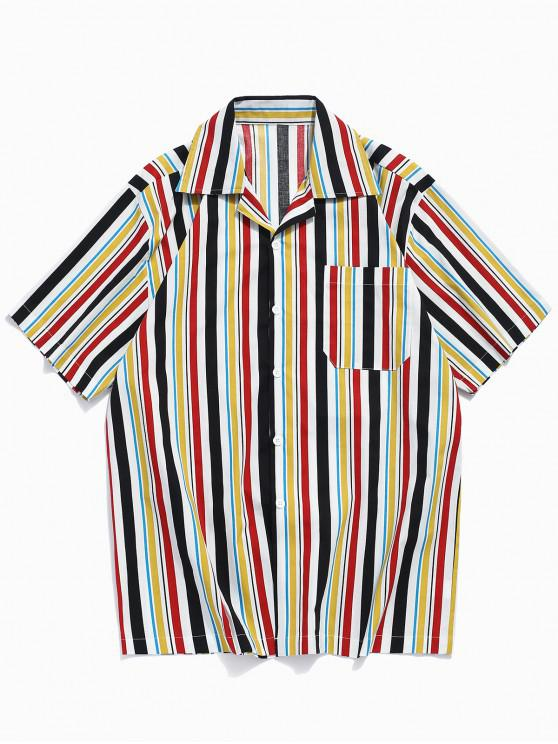 lady Colorful Stripes Print Chest Pocket Shirt - YELLOW L