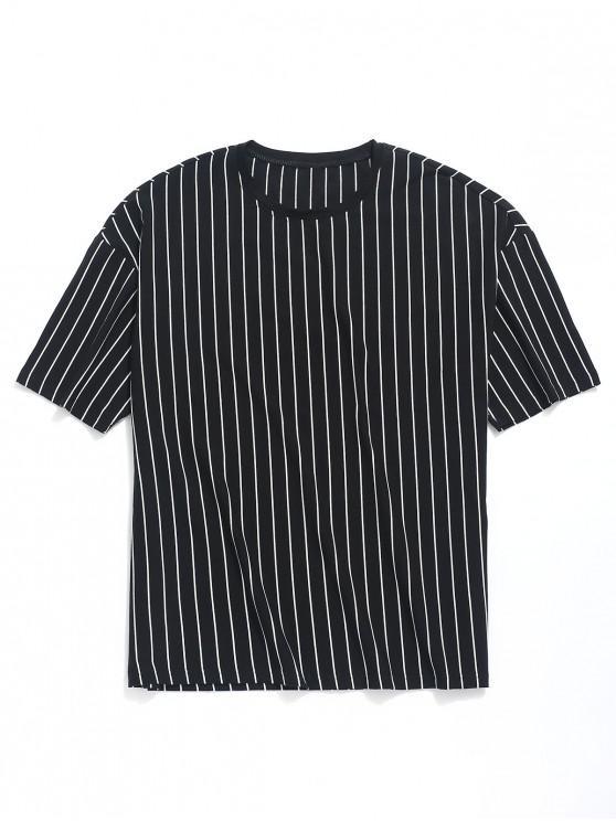 best Striped Print Drop Shoulder T-shirt - BLACK L