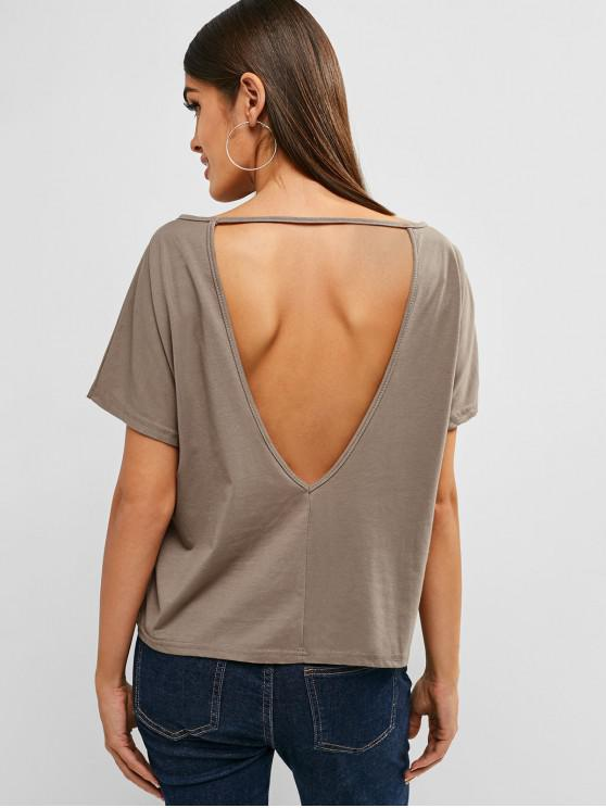 new Open Back Front Pocket Tee - TAN M