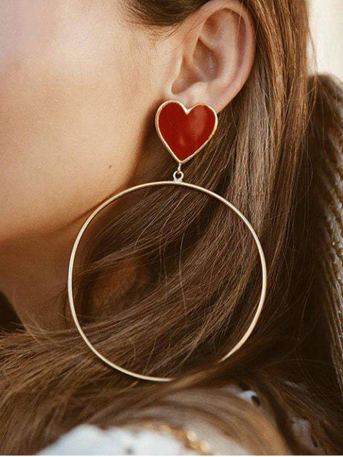 fashion Alloy Punk Style Big Circle Heart Earrings - GOLD  Mobile