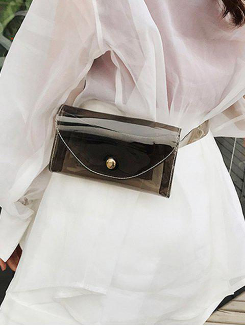 latest Square Solid Transparent Belt Bag - BLACK  Mobile