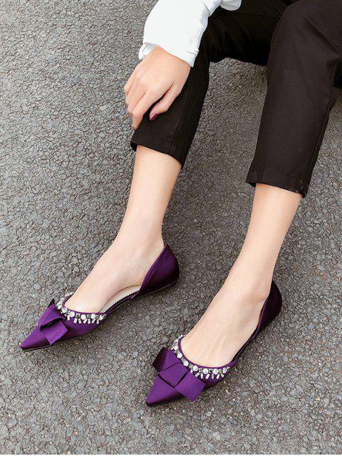 unique Pointed Toe Bow Rhinestone Flat Shoes - PURPLE EU 37 Mobile