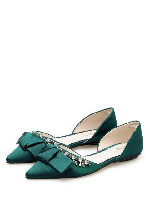 womens Pointed Toe Bow Rhinestone Flat Shoes - DEEP GREEN EU 37 Mobile