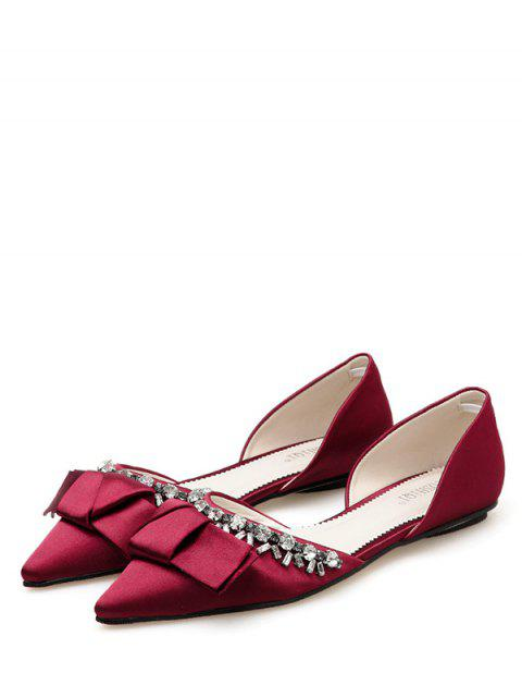 best Pointed Toe Bow Rhinestone Flat Shoes - RED EU 38 Mobile