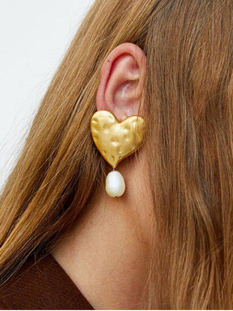 shop Alloy Faux Pearl Shape Heart Earrings - GOLD  Mobile