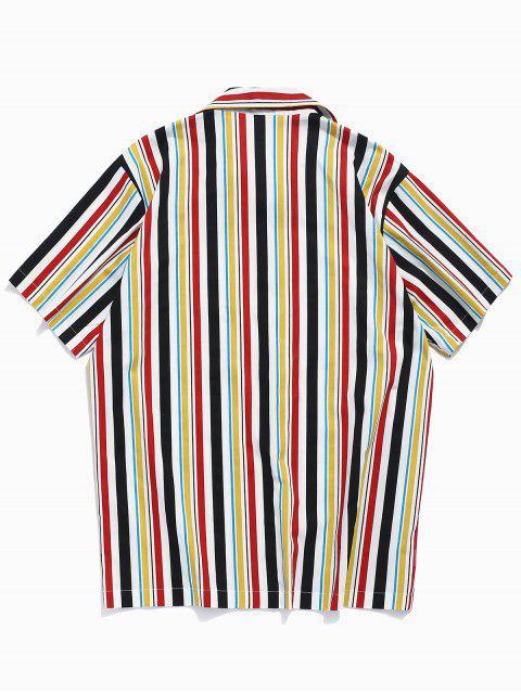 online Colorful Stripes Print Chest Pocket Shirt - YELLOW 2XL Mobile