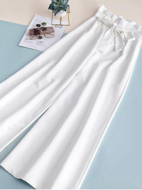 shops ZAFUL Ruffles Belted Wide Leg Pants - WHITE L Mobile