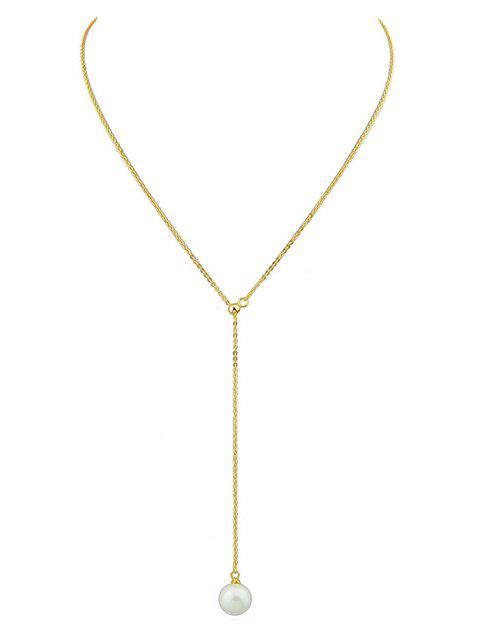 Collier à Chaîne Minimaliste en Fausse Perle - Or  Mobile