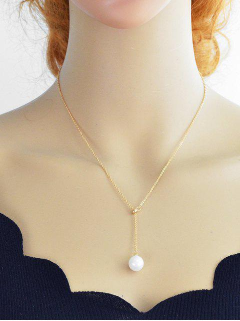 unique Minimalist Faux Pearl Chain Necklace - GOLD  Mobile
