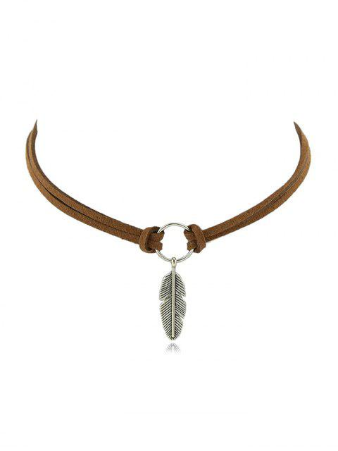 buy Beach Leaves Choker Necklace - BROWN  Mobile