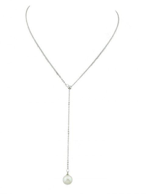 ladies Minimalist Faux Pearl Chain Necklace - SILVER  Mobile