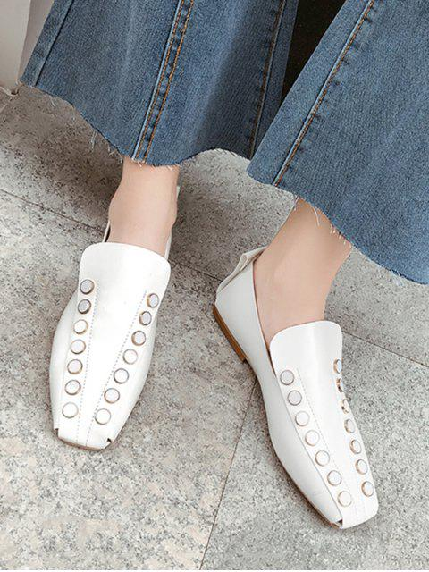 online Square Toe Round Studded Flat Shoes - WHITE EU 36 Mobile