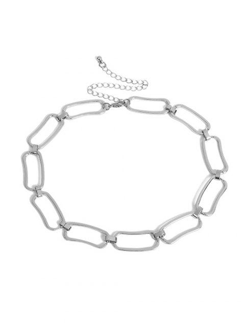 trendy Geometric Hollow Chain Choker Necklace - SILVER  Mobile