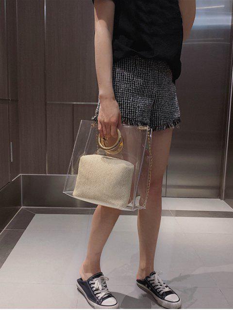 buy Circle Handle Transparent PVC Handbag - BEIGE  Mobile