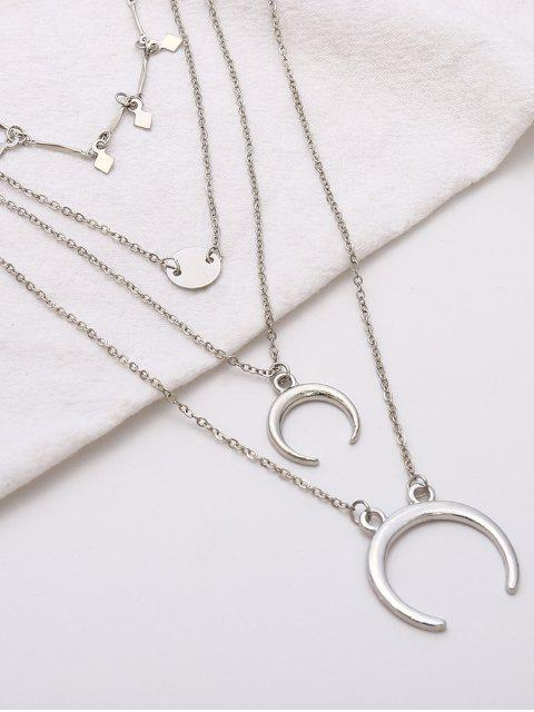 lady Layered Crescent Pattern Pendant Necklace - SILVER  Mobile