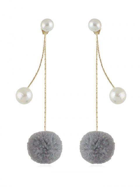 affordable Fuzzy Ball Pearl Decorated Dangle Earrings - GRAY  Mobile