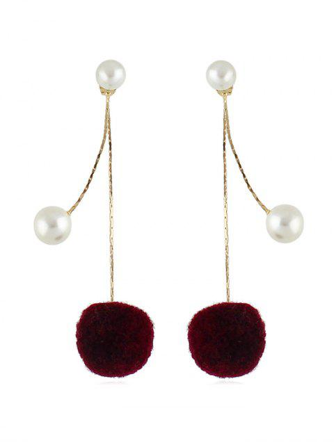 outfits Fuzzy Ball Pearl Decorated Dangle Earrings - RED WINE  Mobile