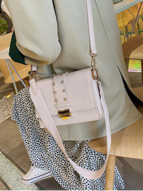 latest Rhinestone Design Crossbody Bag - WHITE  Mobile